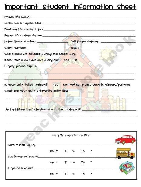 Best 25+ Student info sheet ideas on Pinterest Student - information sheet template