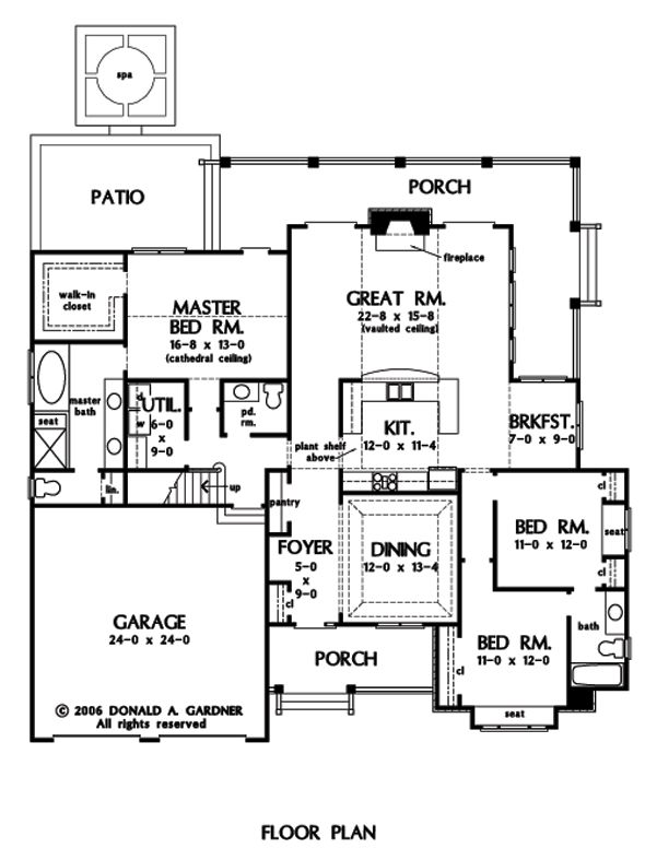 Great room, central kitchen, w/dining/library rm interesting layout.First Floor  Plan of The Jenner - House Plan Number 1185