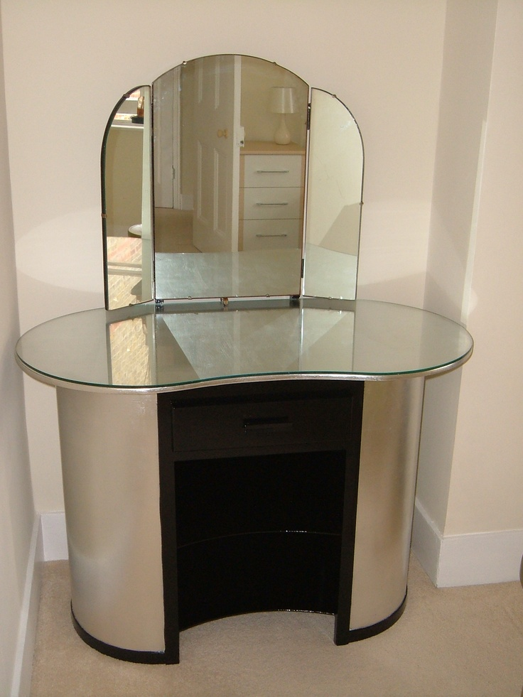 A kidney shaped vintage dressing table with two shelves for Made dressing table