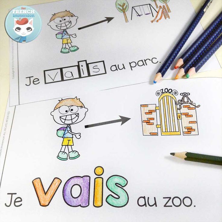 French emergent reader: je VAIS. Reading, writing, cutting and pasting to practice French sight words and improve reading skills.