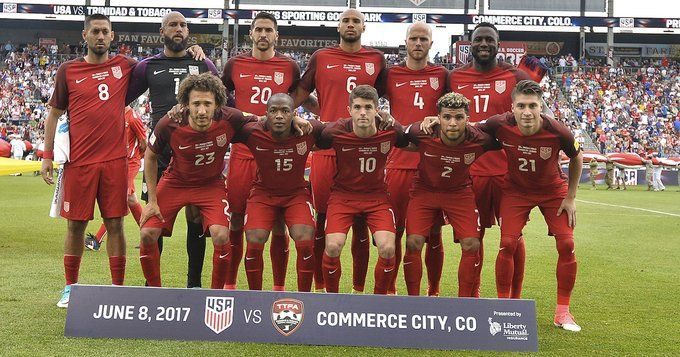 Starting XI for World Cup Qualifier at Dick's Sporting Goods Park in Commerce City, Colorado (June 8th, 2017); Trinidad and Tobago vs.U.S. battle in a World Cup Qualifier | (Front Row) Fabian Johnson, Darlington Nagbe, Christian Pulisic, DeAndre Yedlin, Jorge Flores Villafana; (Back Row) Clint Dempsey, Tim Howard, Geoff Cameron, John Brooks, Michael Bradley, Jozy Altidore