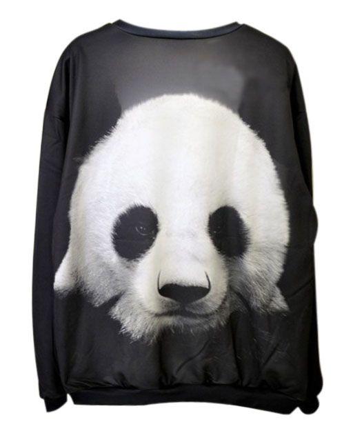 Leisure Panda Print Sweatshirt in Black