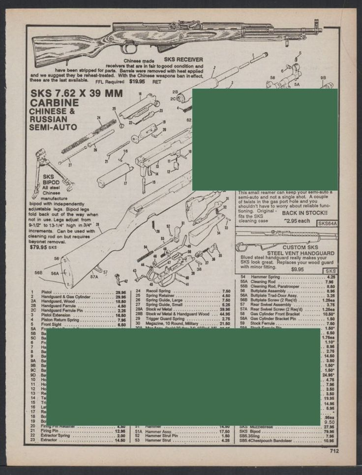 SKS 7.62 x 30mm Carbine Chinese & Russian Semi-Auto Exploded Parts List AD