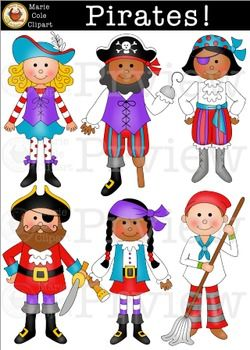 PIRATES! [Marie Cole Clipart]Yo Ho, Mateys! These colorful pirate images are sure to be a hit with your kids.  Youll have all the basics to embellish worksheets, learning games, bulletin boards, posters or for decorating your classroom.  If you are a TPT Seller, youll find many uses for these fun designs.                                                                                                                                                      More