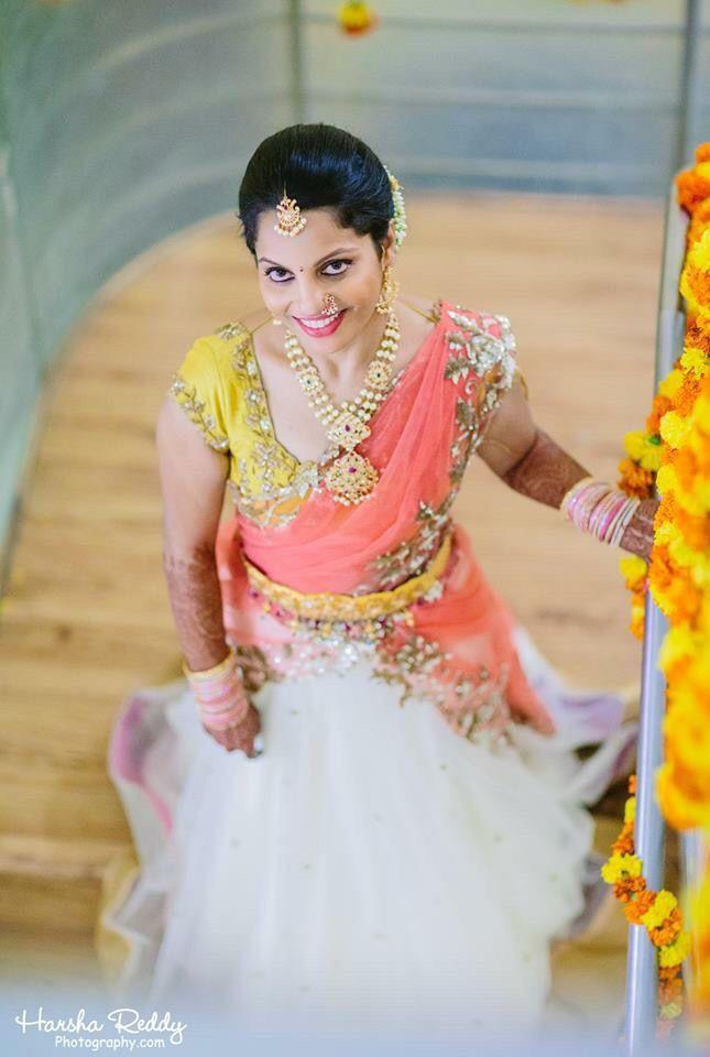 Bridal saree heavy blouse embroidery Telugu bride Tamil bride Heavy Bridal Jewellery haaram jhumkha Diamond Jewellery bridal lehengas
