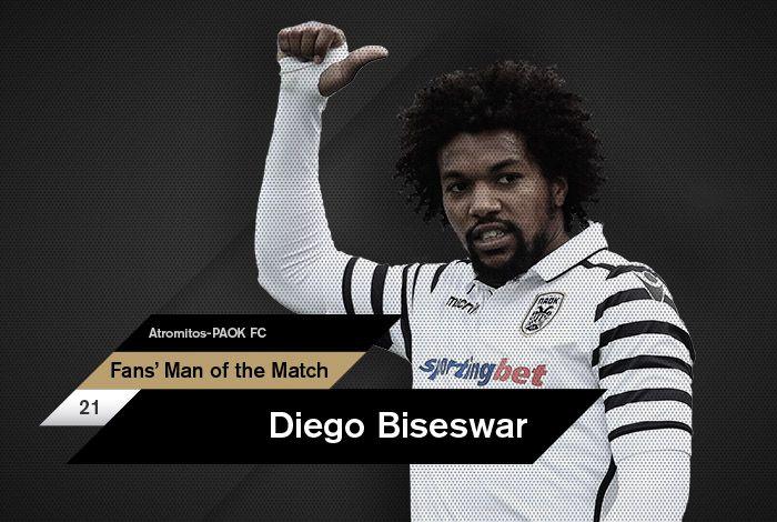 Ο Ντιέγκο Μπίσεσβαρ αναδείχθηκε, από το κοινό του paokfc.gr και του PAOK FC Official App, ως ο Fans' Man of the Match της αναμέτρησης κόντρα στον Ατρόμητο για την 27η αγωνιστική της Super League.