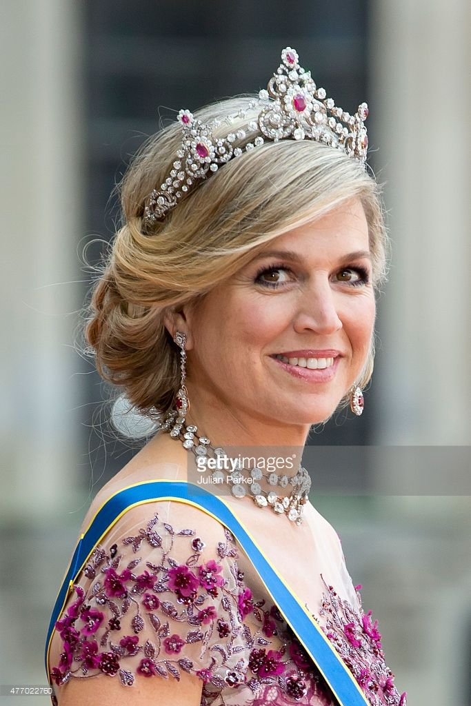 Queen Maxima of the Netherlands, arrives at The Royal Chapel, at The Royal Palace in Stockholm for The Wedding of Prince Carl Philip of Sweden and Sofia Hellqvist on June 13, 2015 in Stockholm, Sweden.  (Photo by Julian Parker/UK Press via Getty Images)