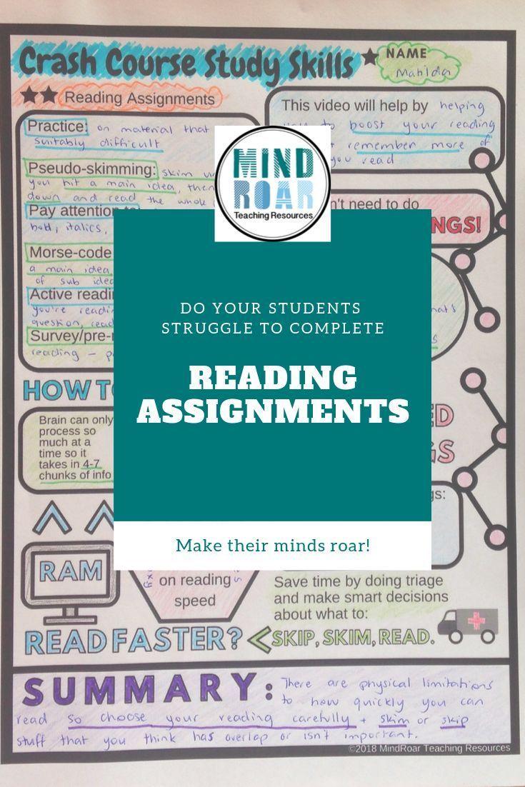 Crashcourse Study Skills Reading Assignments Episode 2 Study Skills Teaching Study Skills Reading Strategies