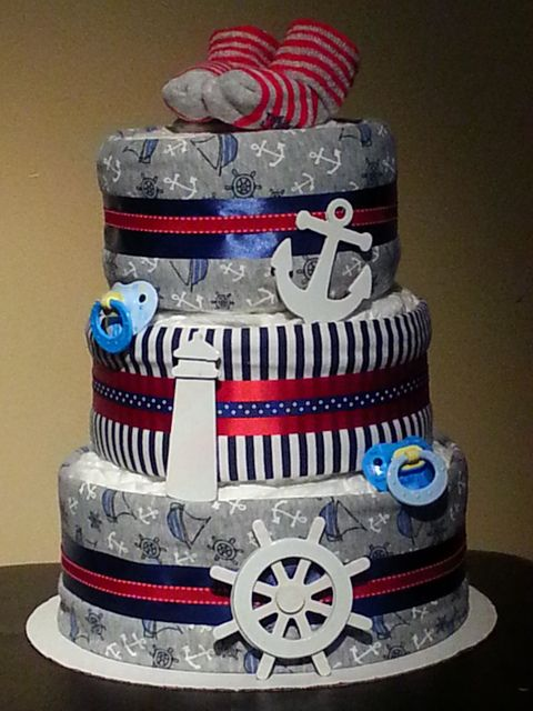 Diaper cake at a Nautical Baby Shower #babyshower #diapercake
