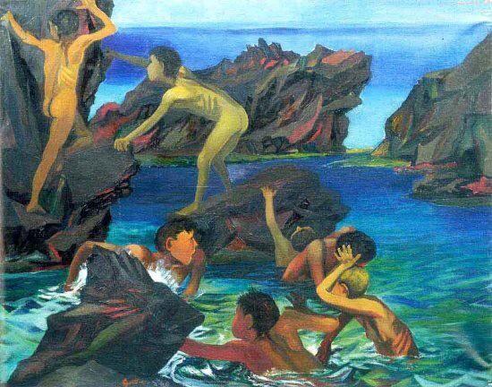 Renato Guttuso(1912ー1987)「Bambini che giocano sugli scogli」(1950)