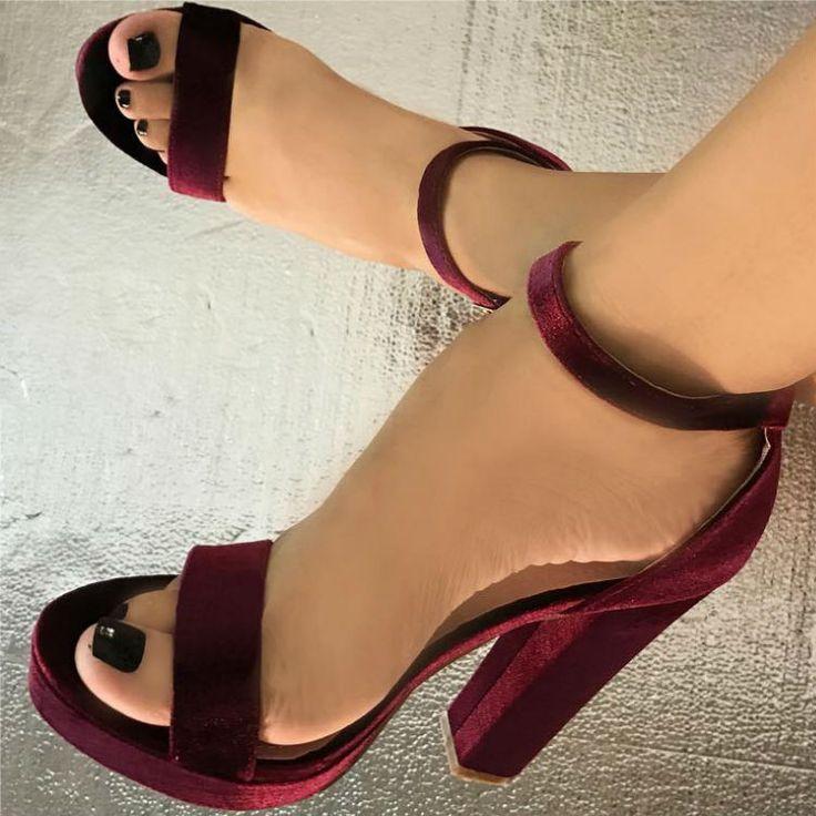 Ankle Strap Velvet Platform Heels