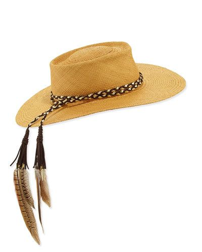 Gladys+Tamez+the+Talitha+Panama+Straw+Hat+W+Feathers+Cafe+|+Headwear+and+Accessory