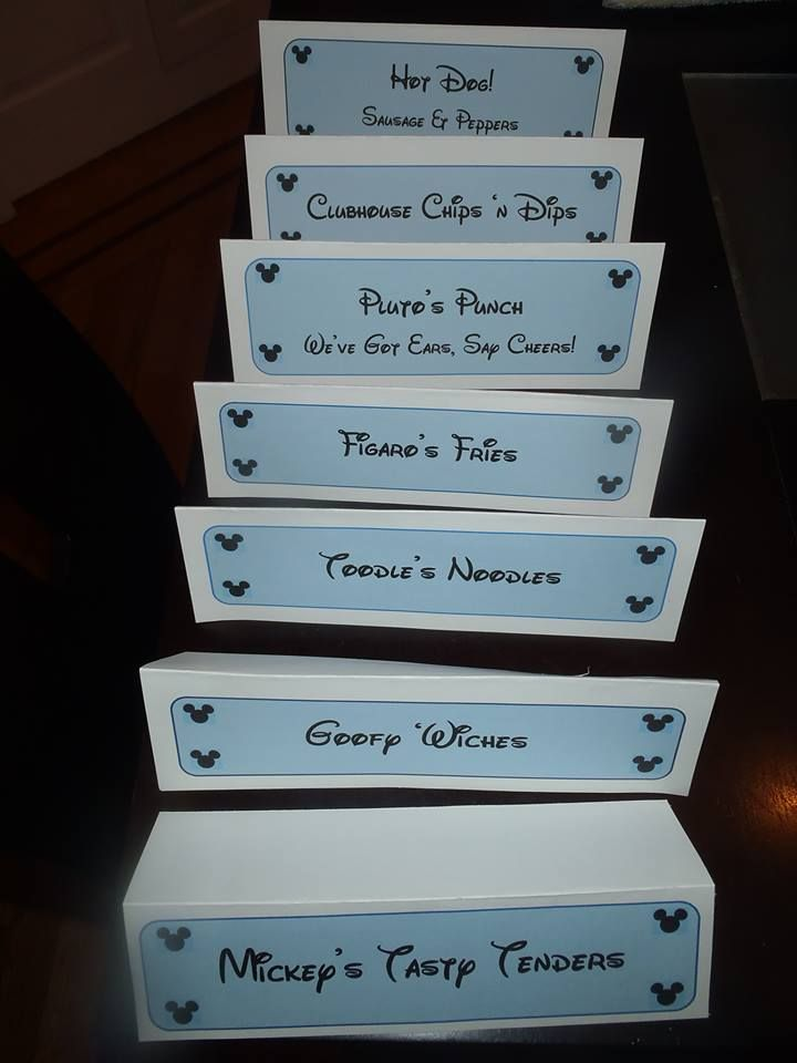 DIY Mickey Mouse food signs, with cute Clubhouse-themed ...