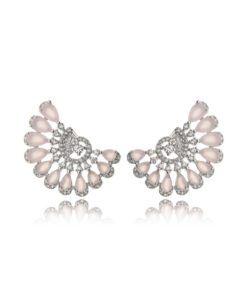 brinco ear cuff delicado com zirconias quartzo rosa e cristais joias em prata