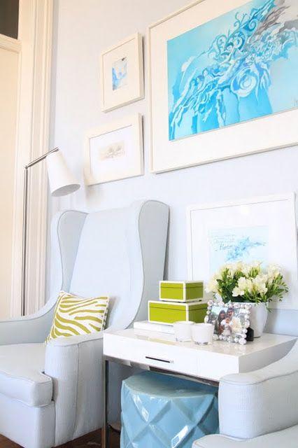 my living room - blue armchairs, grey walls, dedar fabric pillow