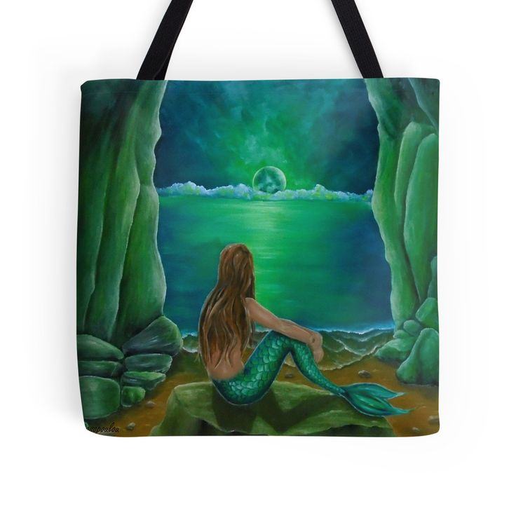 Tote Bag,   mermaid,green,cool,beautiful,unique,trendy,artistic,unusual,accessories,for sale,design,items,products,gifts,presents,ideas,redbubble