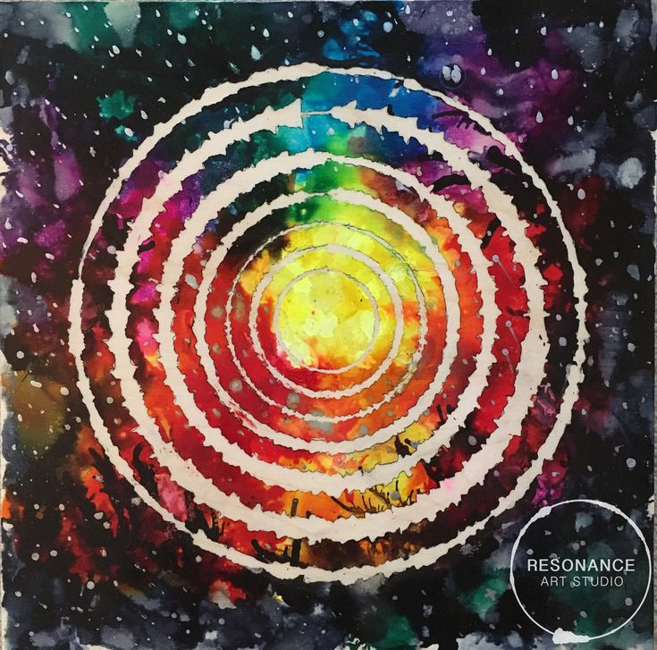 """Counting Stars 12""""x12""""  Alcohol Ink on Board  Sound waves from the song """"Counting Stars"""" by One Republic were used to create this original piece of art."""