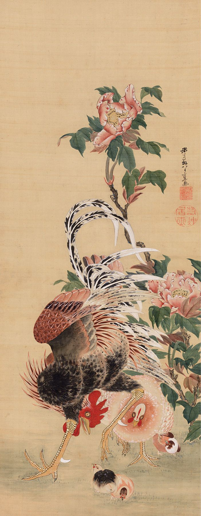 Ito jakuchu(伊藤 若冲) , Burke Collection | Rooster and Family