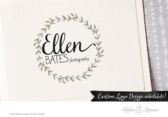floral wreath logo photography logo premade logo by TheParisWife