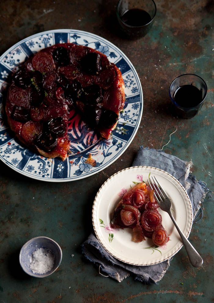 Roasted beetroot and onion tart tartin with a thyme balsamic caramel DrizzleandDip.com