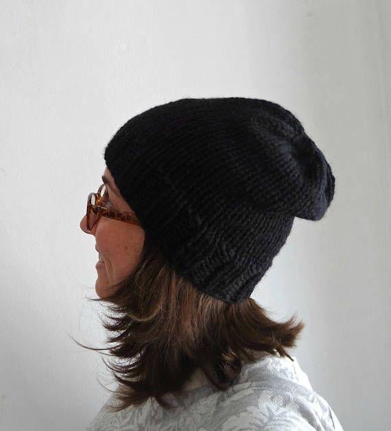 OFERTA Gorro básico tejido negro lana grueso voluminoso / bulky chunky slouchy hat black, hand knitted