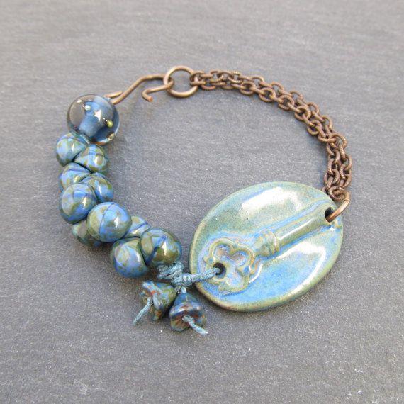 Key bracelet ceramic key bracelet artisan jewelry by BeadyDaze, £18.00