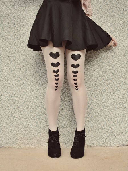 The Pineneedle Collective's DIY Hearts Tights - see more of our Top 5 DIY Tights here http://blog.mjtrim.com/2012/09/17/top-5-diy-tights/