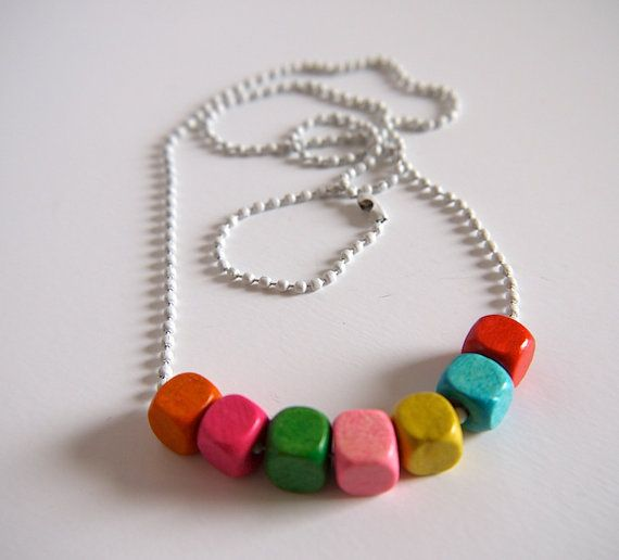 Multicoloured bright wooden bead necklace on white by gtgadabout, $15.90