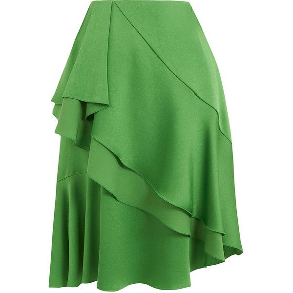 Lanvin Green Asymmetric Frill Skirt ($980) ❤ liked on Polyvore featuring skirts…