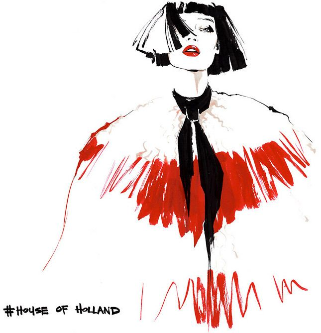 House of Holland by Alena Lavdovskaya, fashion illustrtion, SS 2015