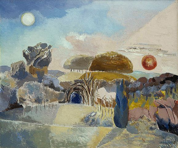 "Landscape of The Vernal Equinox III (1944) by Paul Nash. Scottish National Gallery of Modern Art, Edinburgh. Nash painted three versions of this view of the Wittenham Clumps from Boars Hill. They show the vernal (or spring) equinox, with the sun and moon depicted simultaneously in the sky. The paintings were intended as ""transcendental conceptions"", poetic metaphors, referring to the mystery and magic of the perpetual cycles of nature."