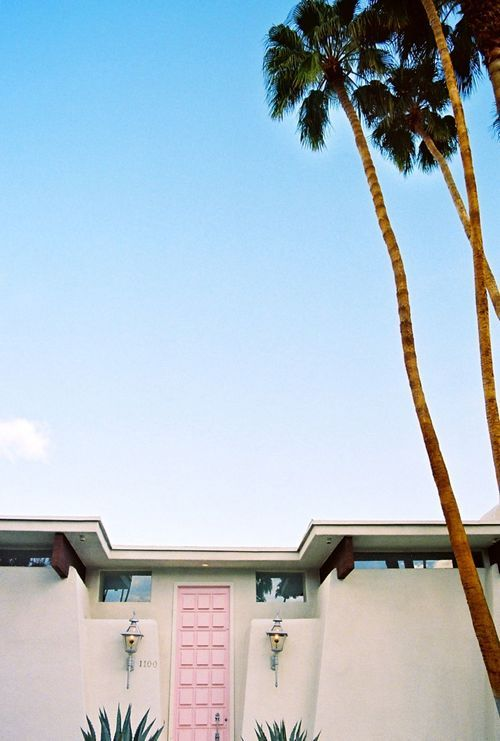 Classic Palm Springs Style Mid Century Modern Architecture, With A Pink Door  And Matching Desert Door Plants. Should Have Been Born In Palm Springs!