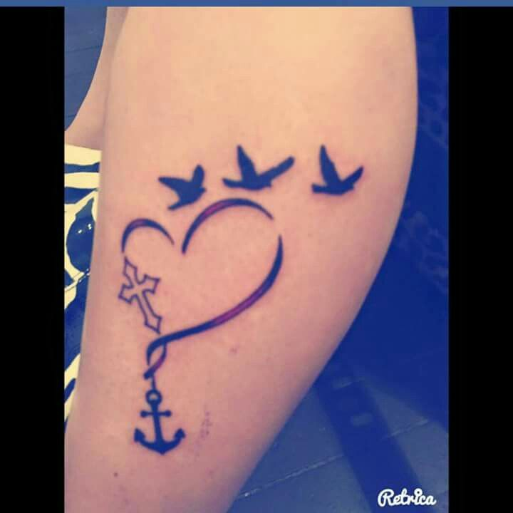 Sister tattoo cross heart anchor birds
