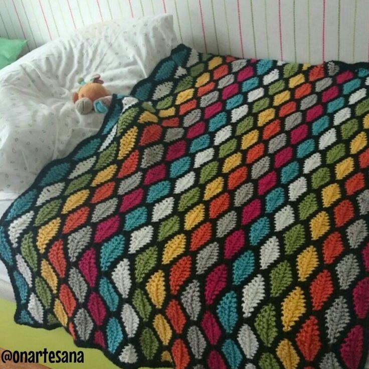 Manta de ganchillo con ondas de colores ganchillo - Como hacer mantas de ganchillo ...
