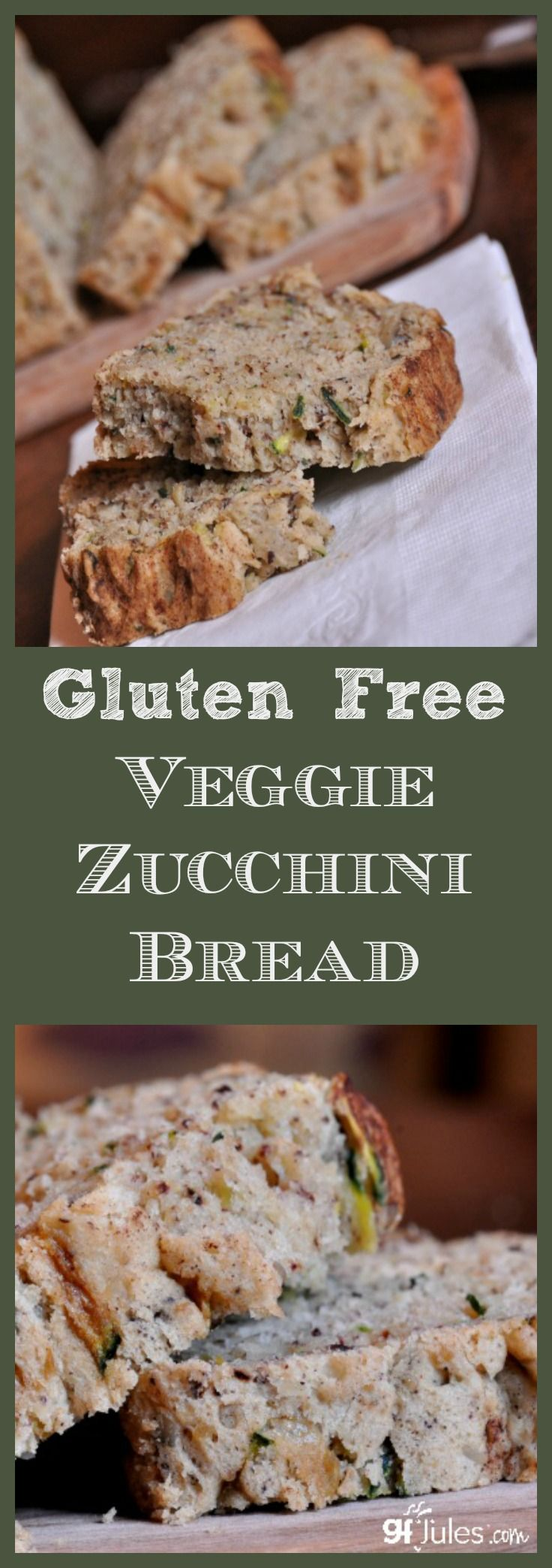 Gluten Free Veggie Zucchini Bread - made with secret healthy ingredients!  gfJules