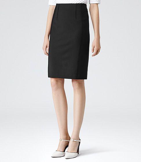 Womens Black Raised Seam Pencil Skirt - Reiss Seliana