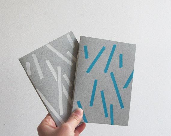 sticks pattern notebook  white or blue by 10antemeridiem on Etsy, $9.00