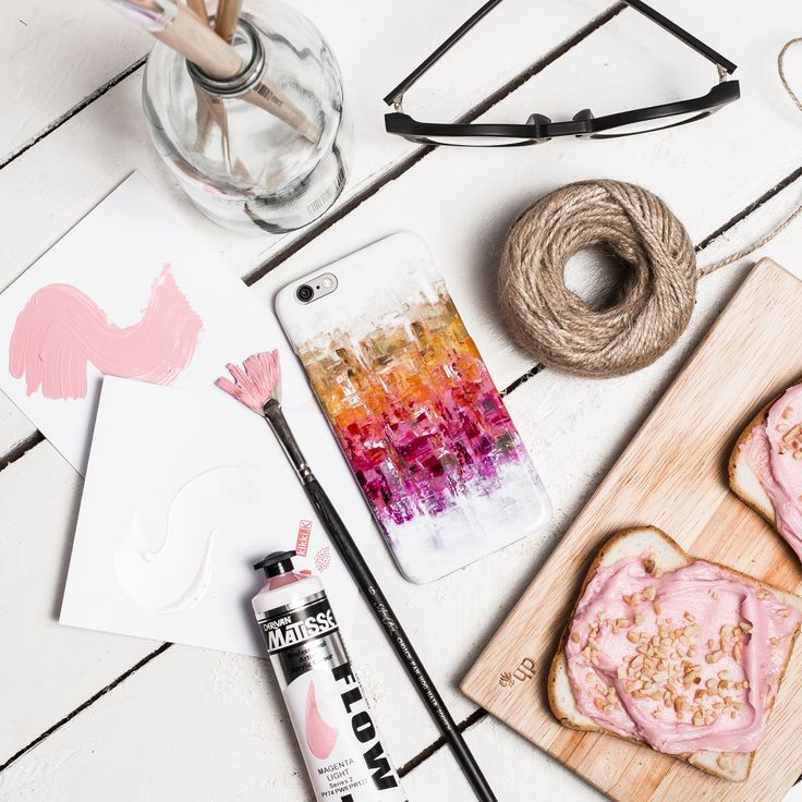 #bright #colourful #pink #white #flatlay #phone