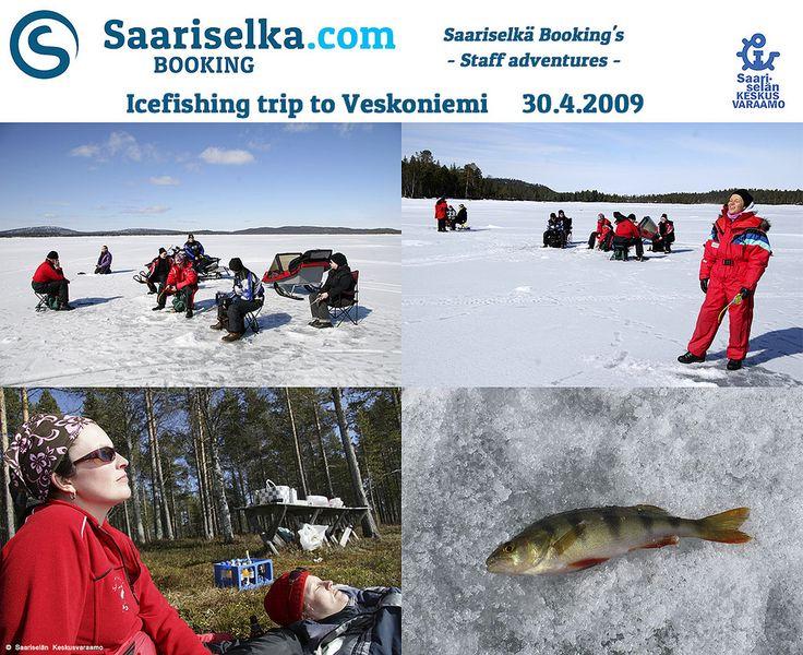 Icefishing day in Veskoniemi 30 April 2009 | Saariselka.com #saariselka #saariselkabooking #staffadventure #saariselankeskusvaraamo