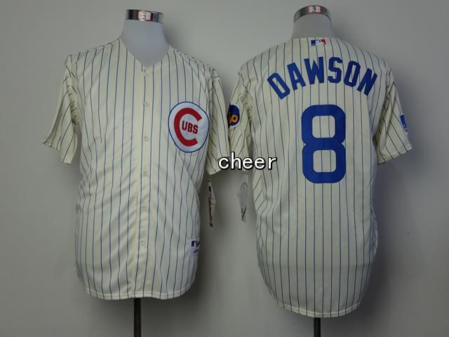 MLB Throwback Jersey Chicago Cubs 8 dawson white stripes Jersey