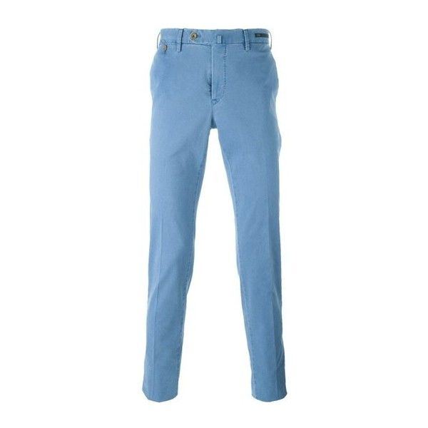 PT01 Chino Trousers (16.245 RUB) ❤ liked on Polyvore featuring men's fashion, men's clothing, men's pants, men's casual pants, light blue, mens chinos pants, mens chino pants and mens light blue pants