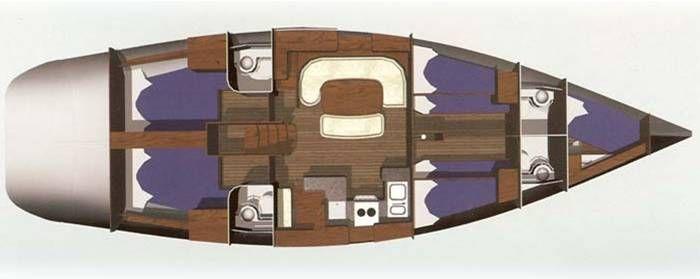 Layout of the OceanStar 51.2 sail-a long holiday Rhodes Greece| Layout van de OceanStar 51.2 mee zeilvakantie Rhodos Griekenland | Sail in Greece Rhodes | sail-in-greece.net
