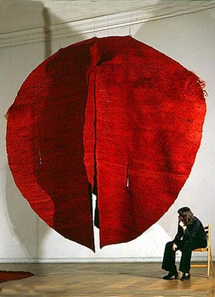 """""""Red Abakans,"""" c1969. Sisal weaving on metal support by Magdalena Abakanowicz."""