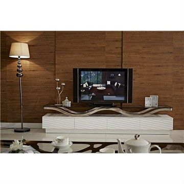 Wave 220cm High Gloss TV Unit with Glass Top