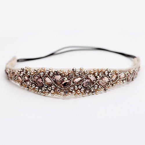 Elegant Rhinestoned Beading Lace Headband For Women