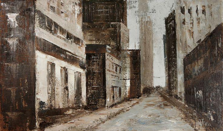 Trabajo en óleo y espátula interpretado - Ciudad desolada.  Work in oil and spatule interpreted - Desolate city.  HMZEN'15