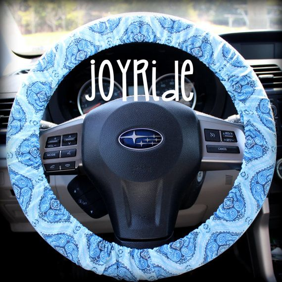 Steering Wheel Cover Blue Denim Morrocan Boho by JoyRideCovers