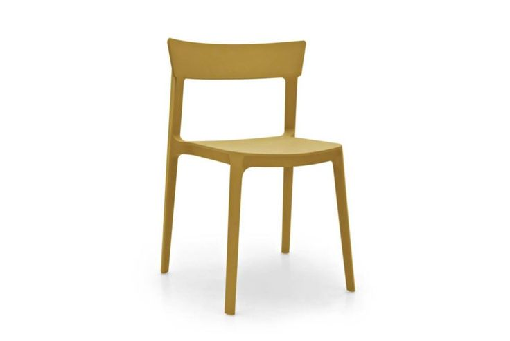 Simple, minimalist, light weight and stackable. Calligaris Skin dining chair. Perfect for both outdoor and indoor use.