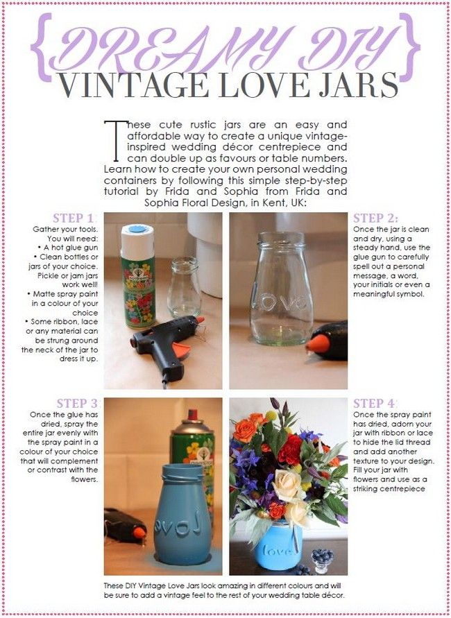 DIY Wedding Decor: Vintage Style Jars | Confetti Daydreams ♥ ♥ ♥ LIKE US ON FB: www.facebook.com/confettidaydreams  ♥ ♥ ♥