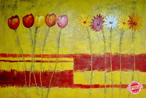 Flowers-Original Oil Painting on Canvas,Fine Art Painting,Large Painting,Palette Knife,Yellow Painting,Extra Large Wall Art,Modern Art